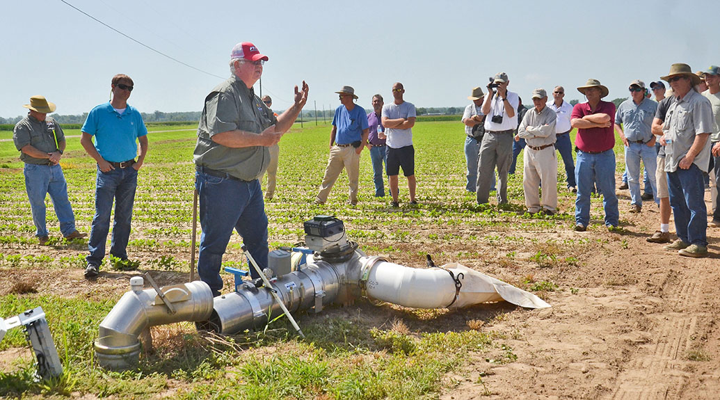 R.L. Frazier teaches farmers how to use flow meters