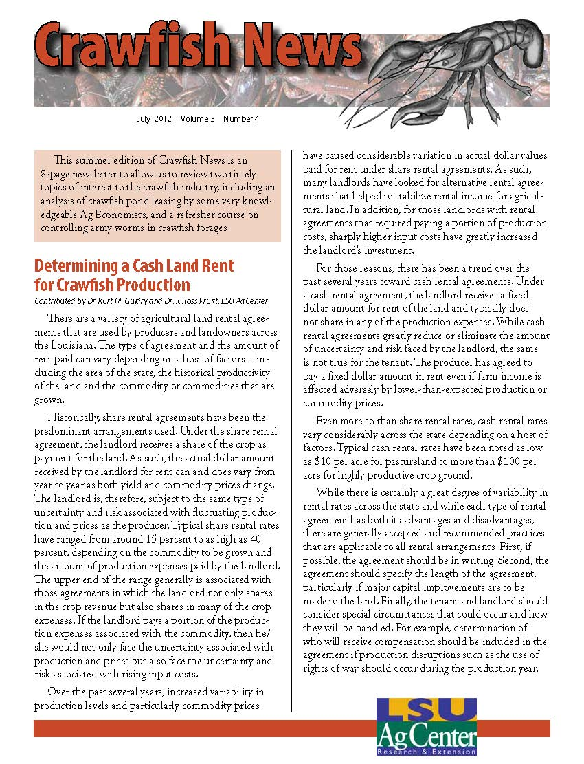 Crawfish News July 2012 (Vol 5, No 4)