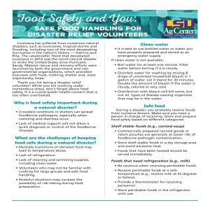 Food Safety and You: Safe Food Handling for Disaster Relief Volunteers