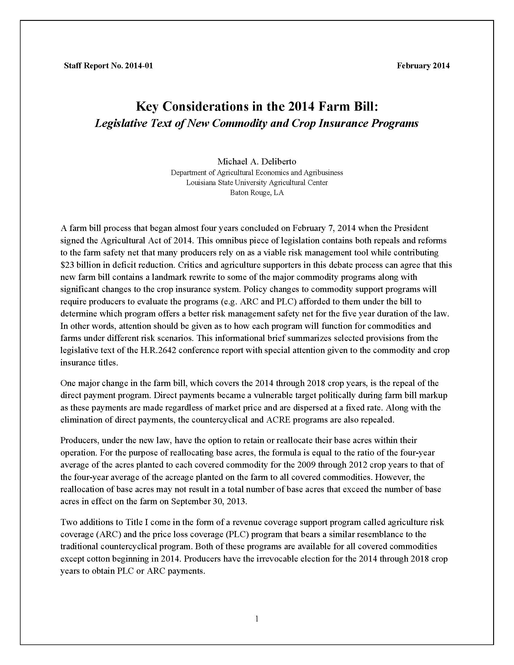 Key Considerations in the 2014 Farm Bill