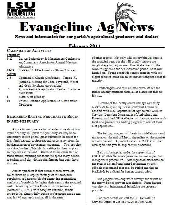 Evangeline Ag News - February 2011
