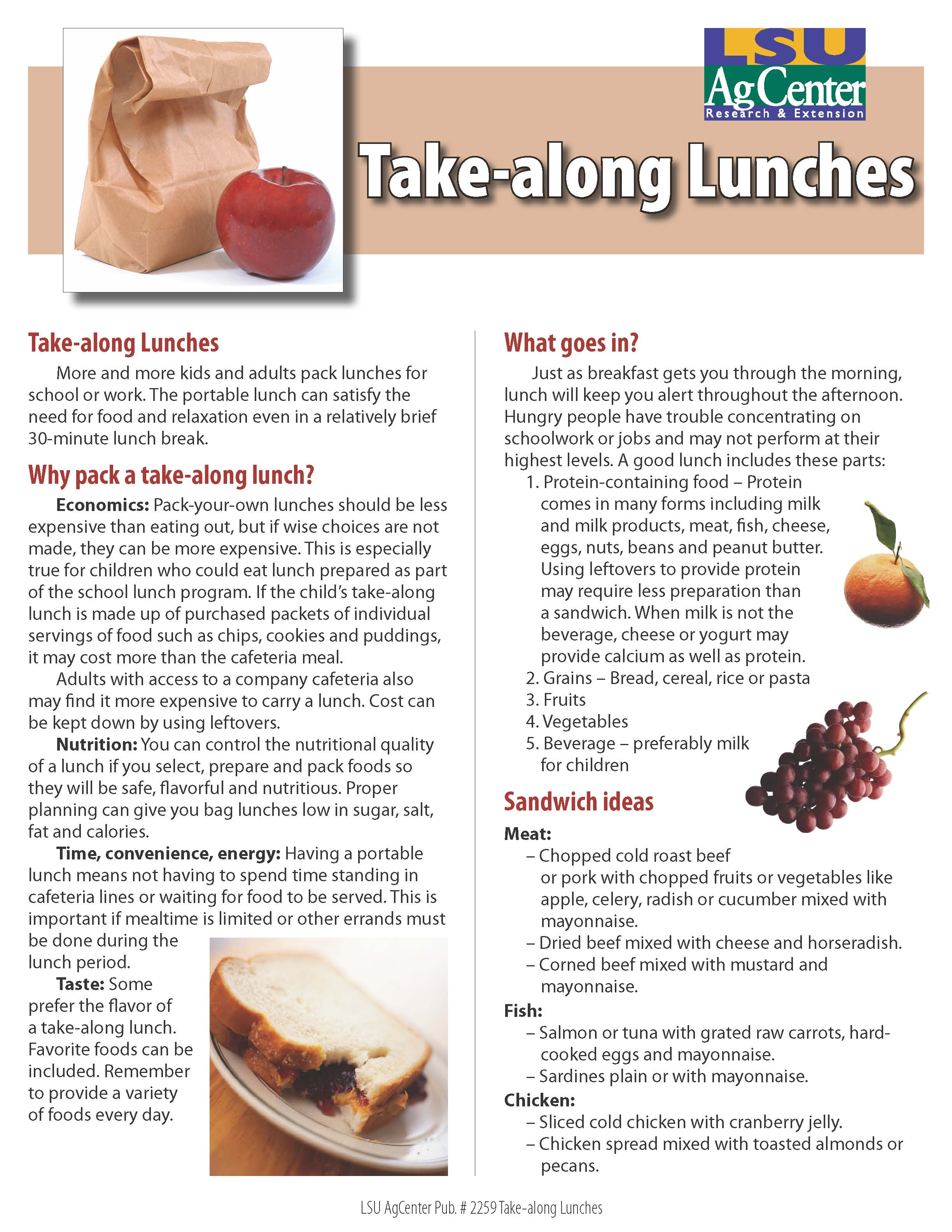 Take-along Lunches
