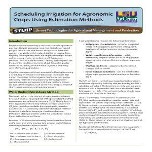 Scheduling Irrigation for Agronomic Crops Using Estimation Methods