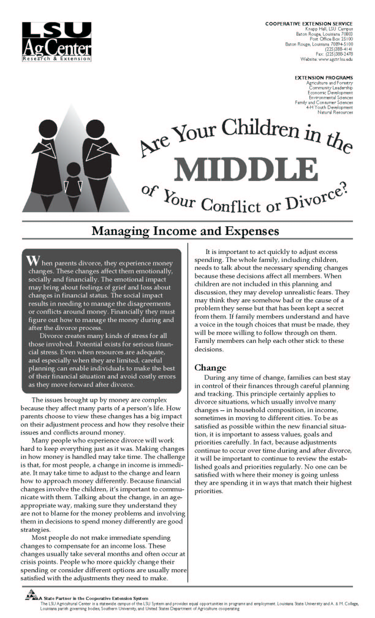 Children in the Middle Series:  Managing Income and Expenses