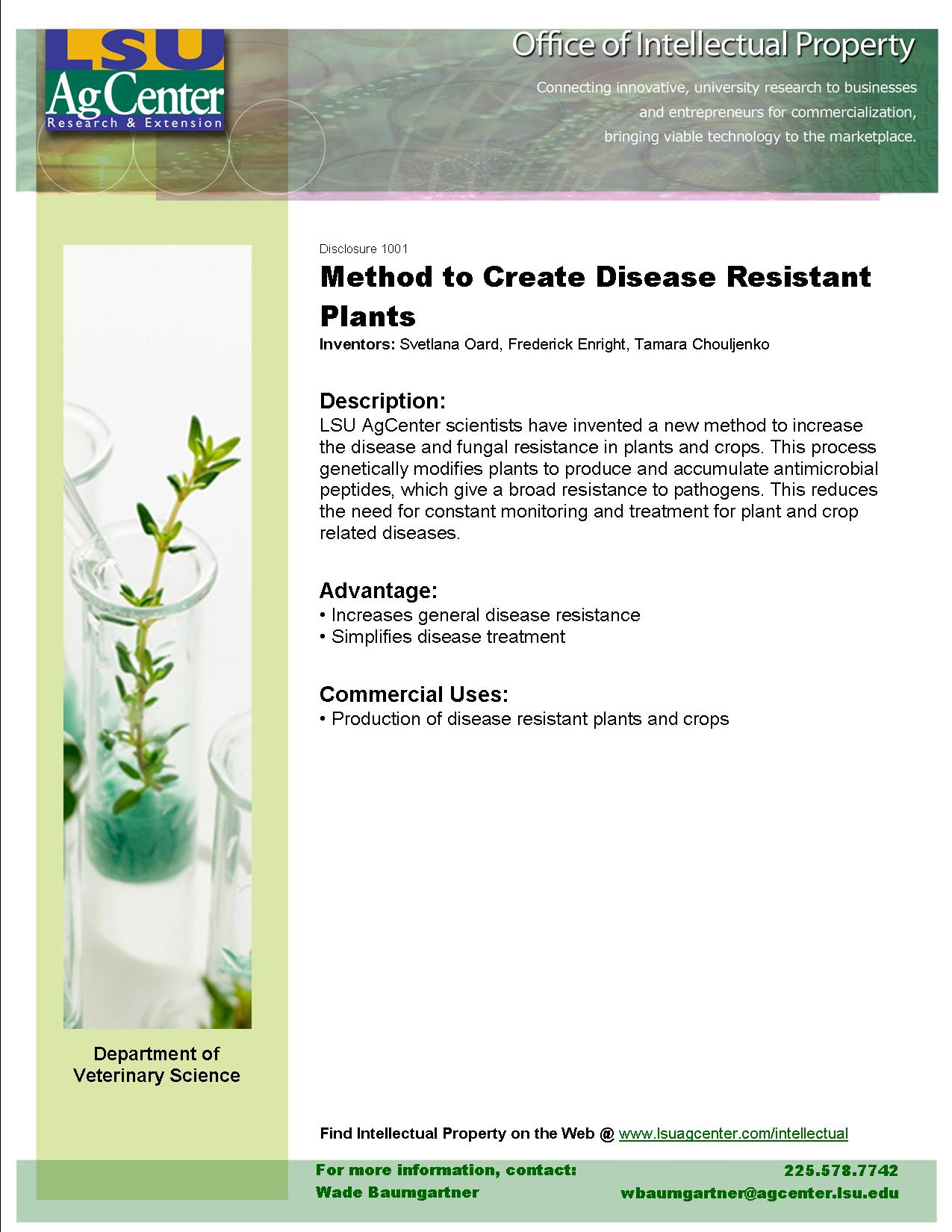 Method to Create Disease-resistant Plants