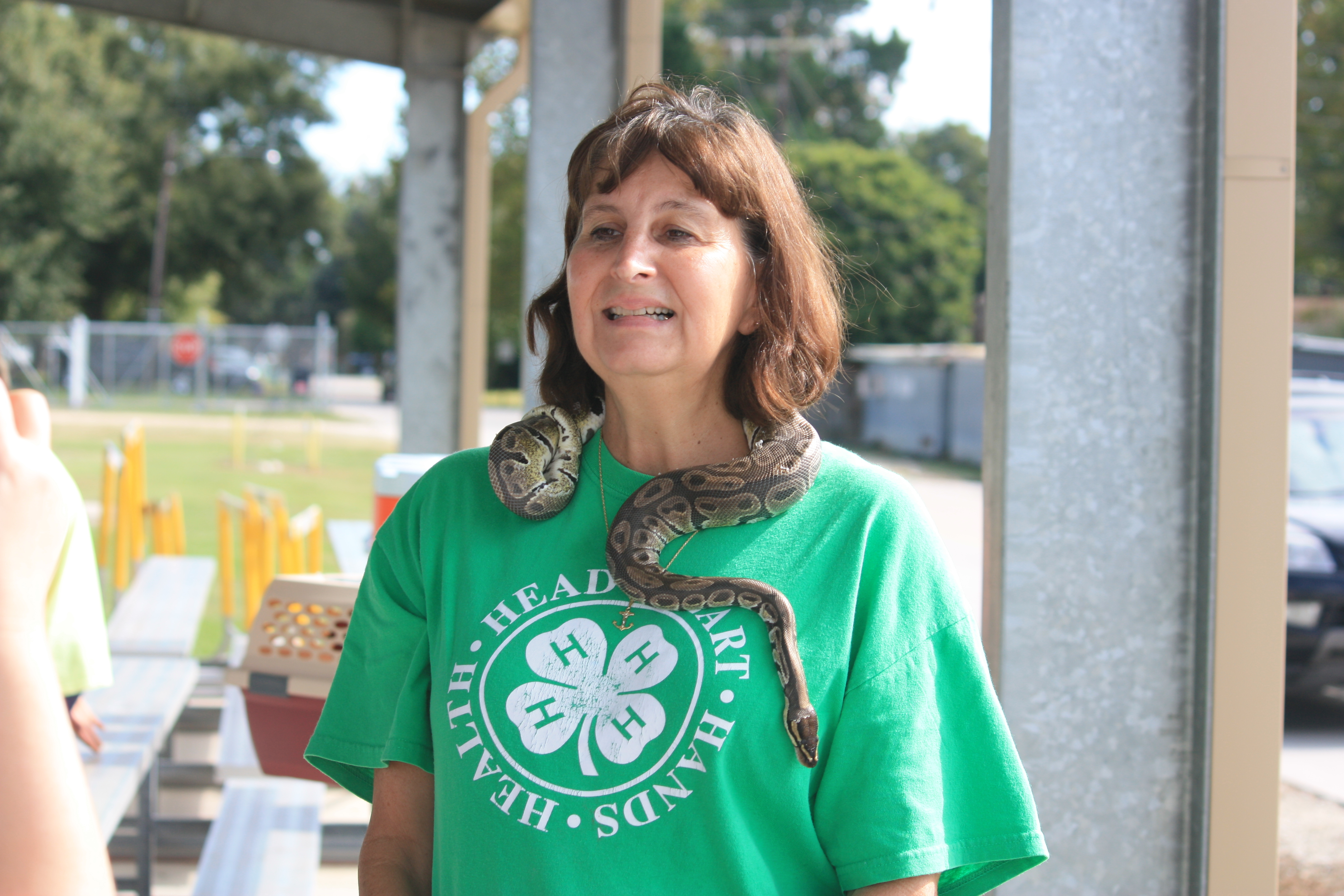 Eva Knight with a snake.