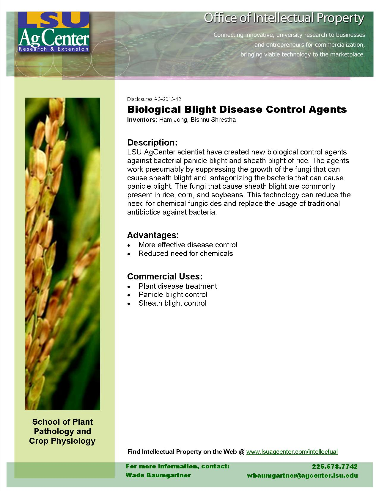 Biological Blight Disease Control Agents