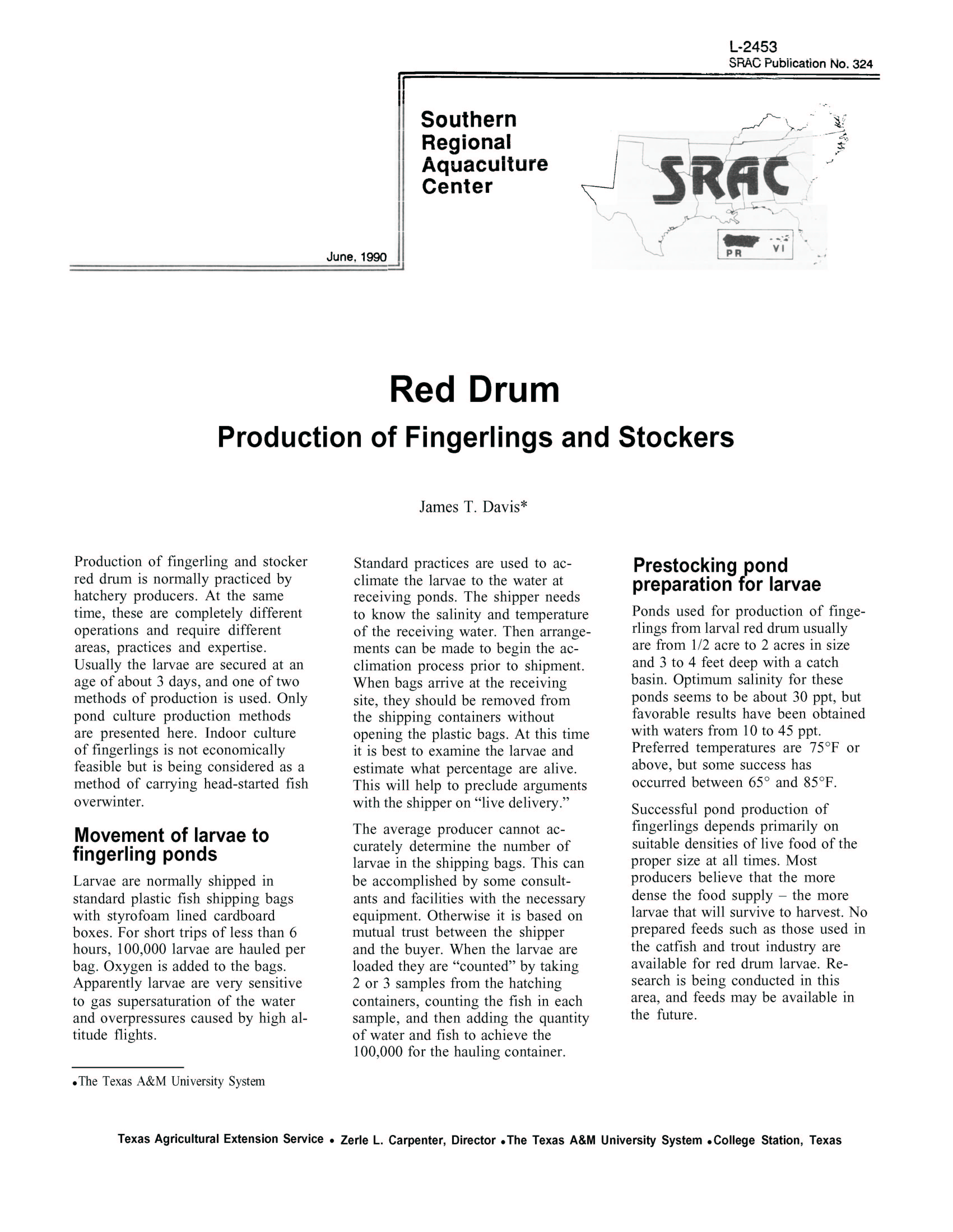 Red Drum: Production of Fingerlings and Stockers