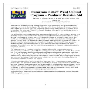 Sugarcane Fallow Weed Control Program – Producer Decision Aid