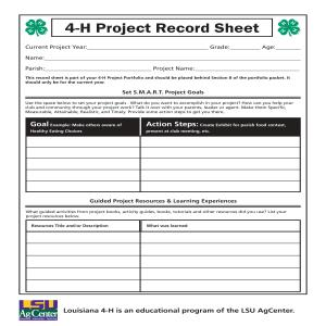 4-H Project Record Sheet