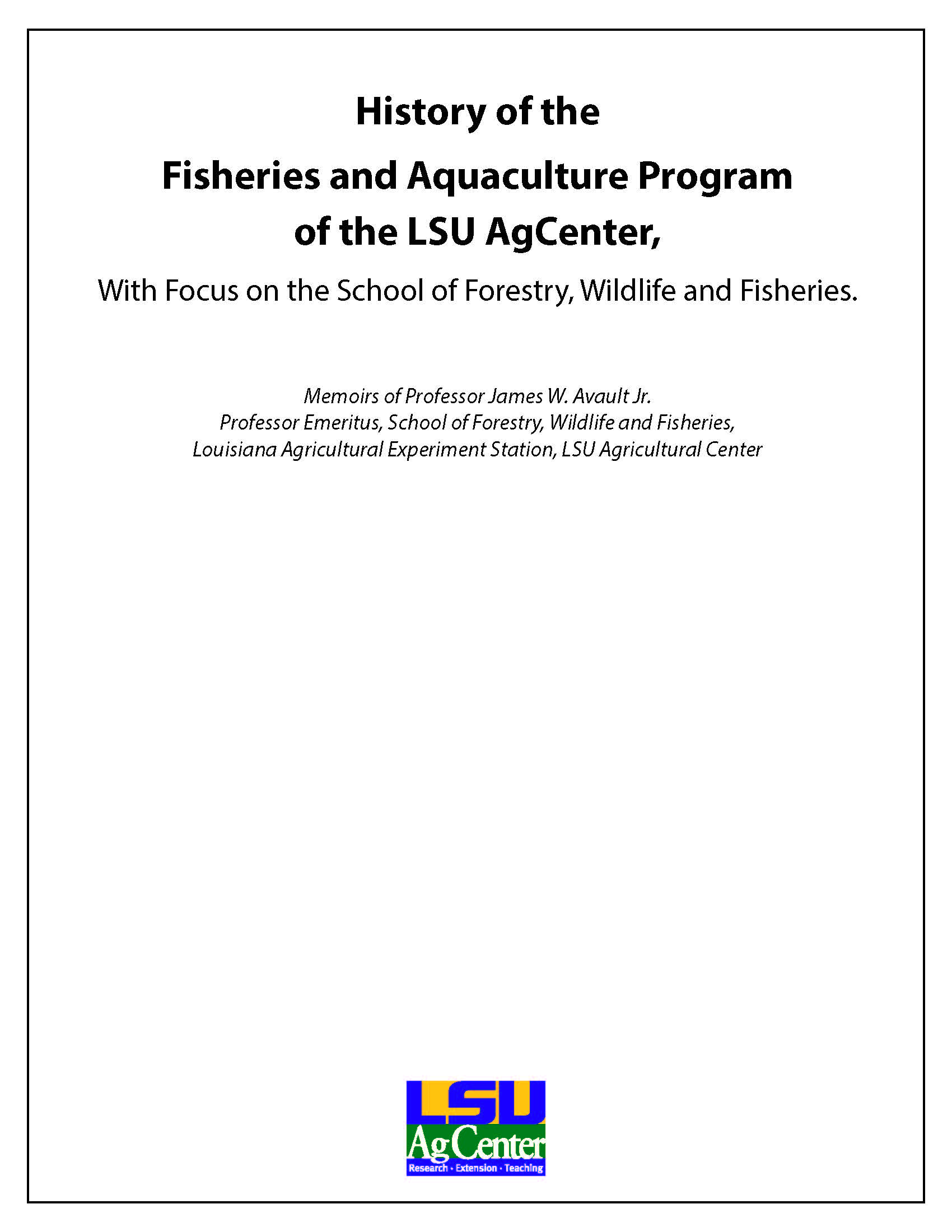 MISC-164 History of the Fisheries and Aquaculture Program