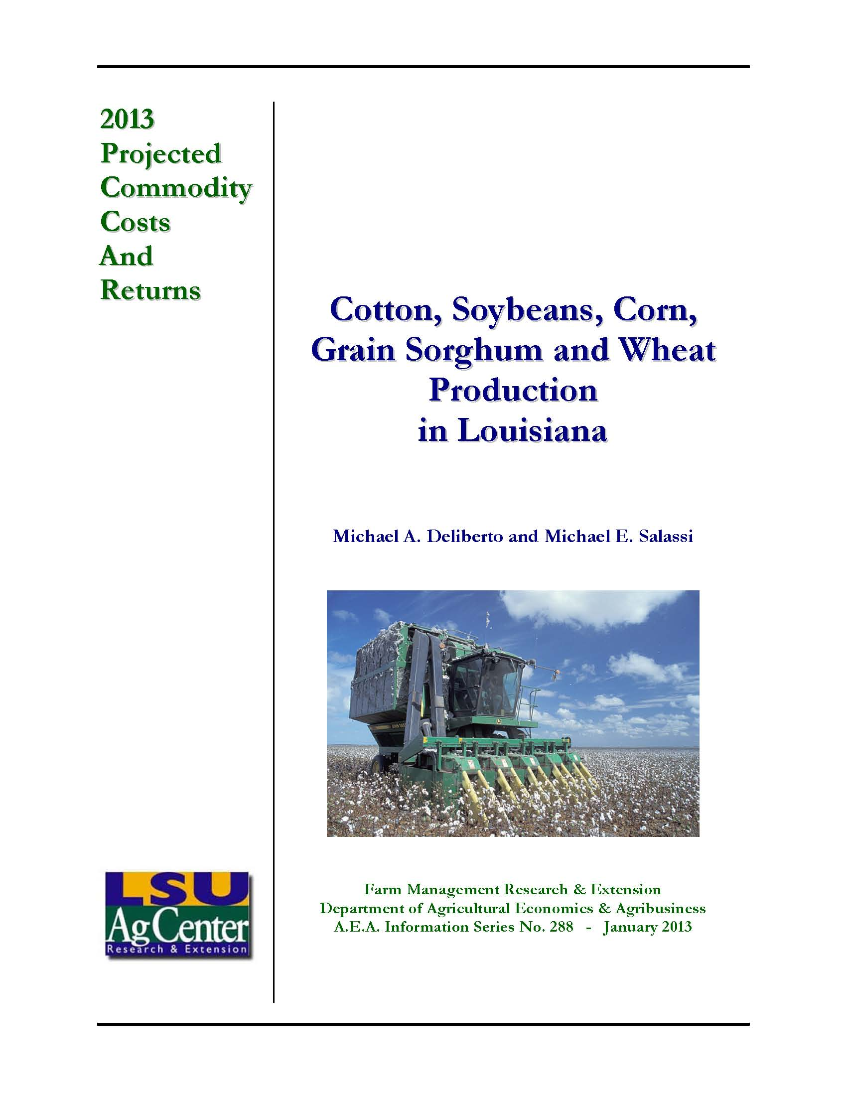 2013 Projected Cotton Corn Soybean and Wheat Production Costs