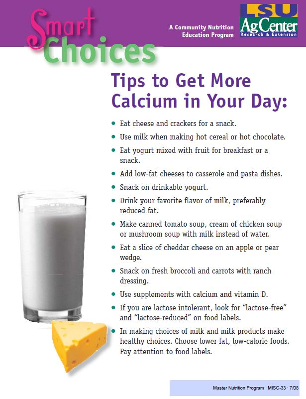 Fact Sheet: Tips to Get More Calcium in Your Day