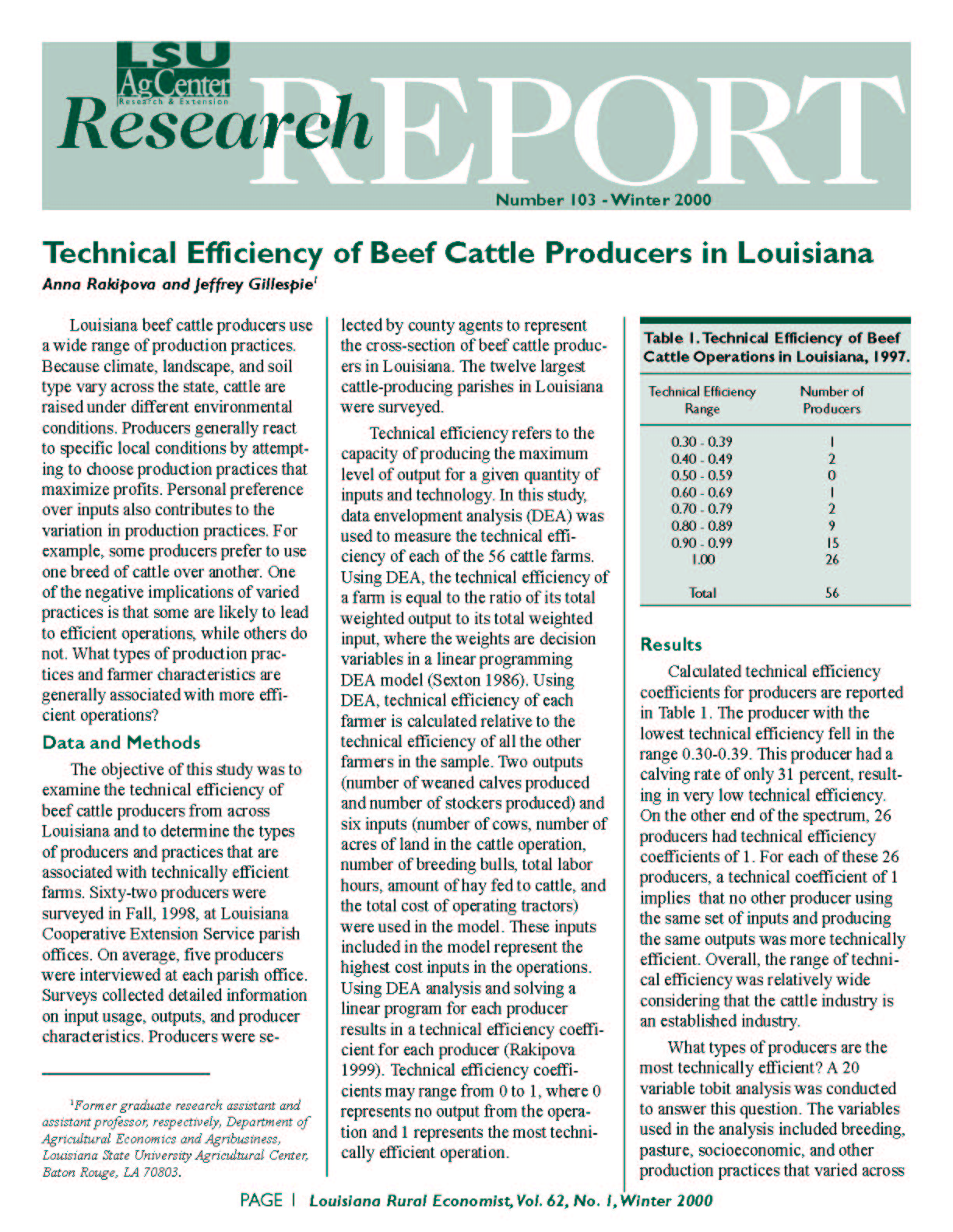 Technical Efficiency of Beef Cattle Producers in Louisiana (Winter 2000)