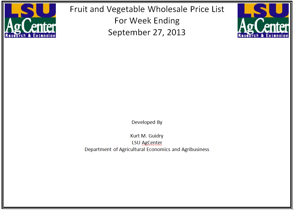 Fruit and Vegetable Wholesale Prices 9-27-14