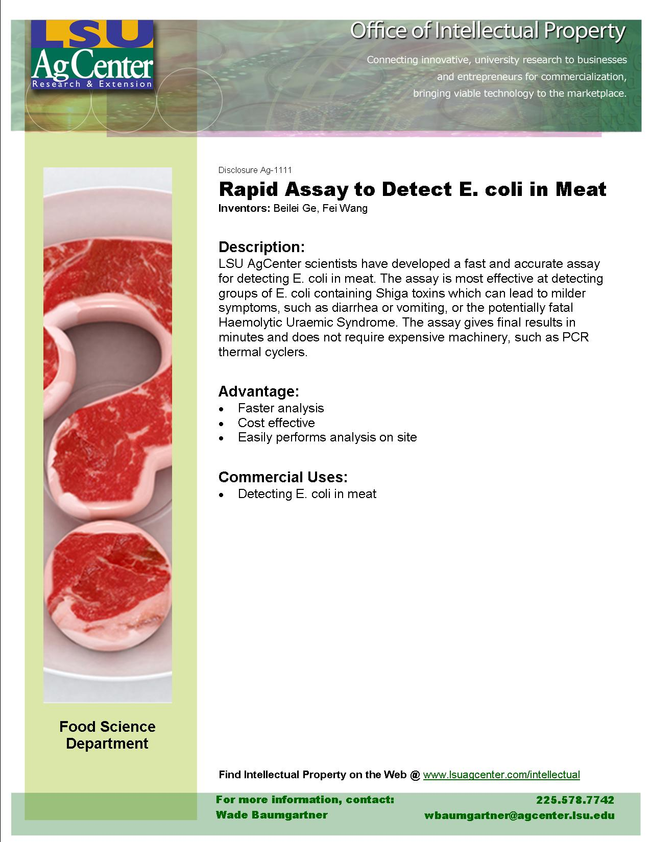 Rapid Assay to Detect E. coli in Meat