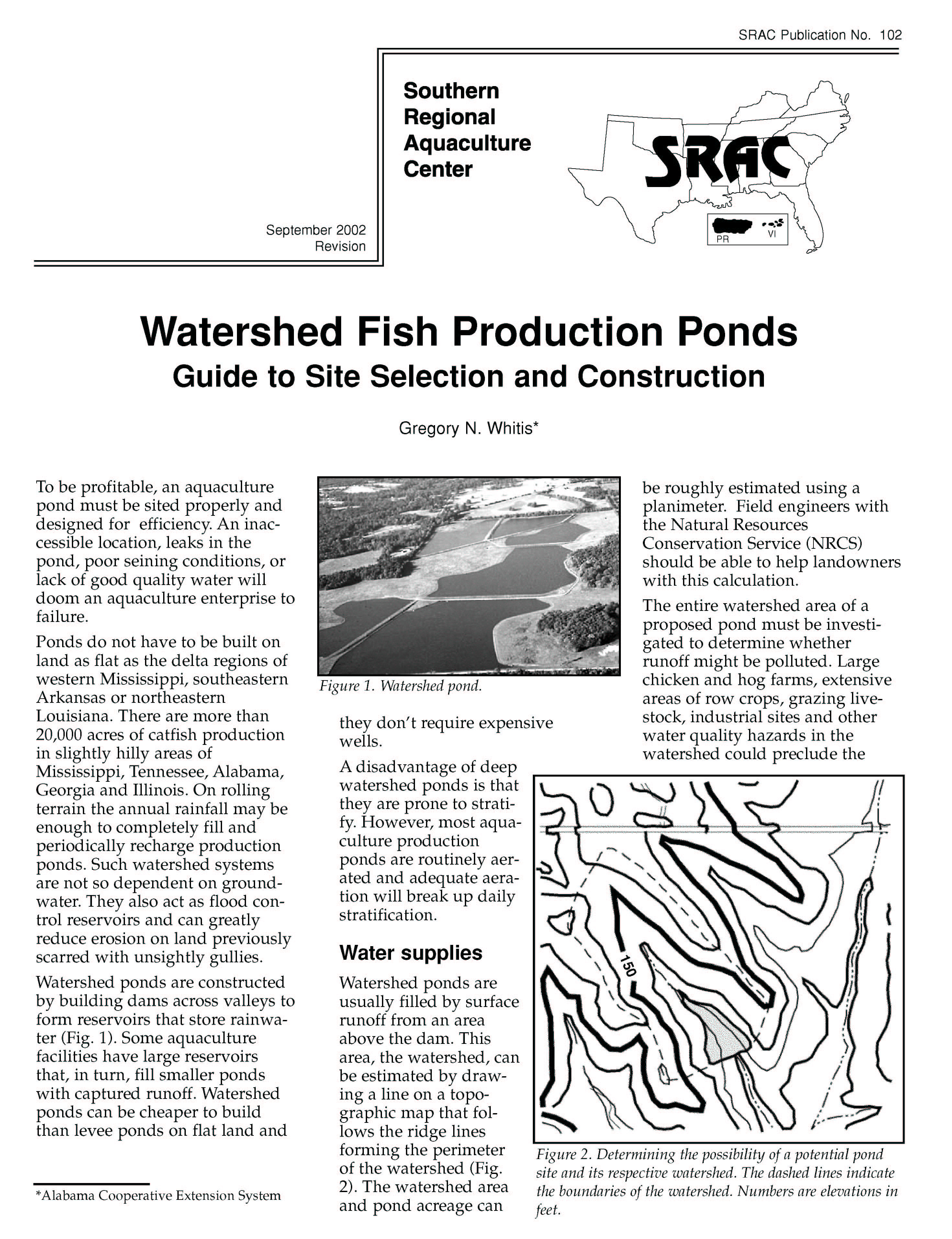 Watershed Fish Production Ponds: Guide to Site Selection and Construction