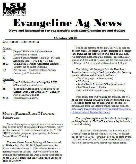 Evangeline Ag News - October 2010