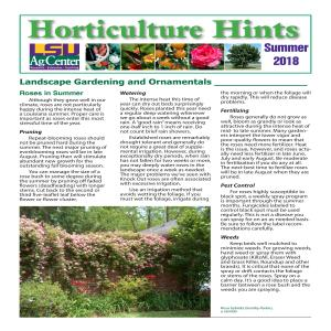 Horticulture Hints Summer 2018