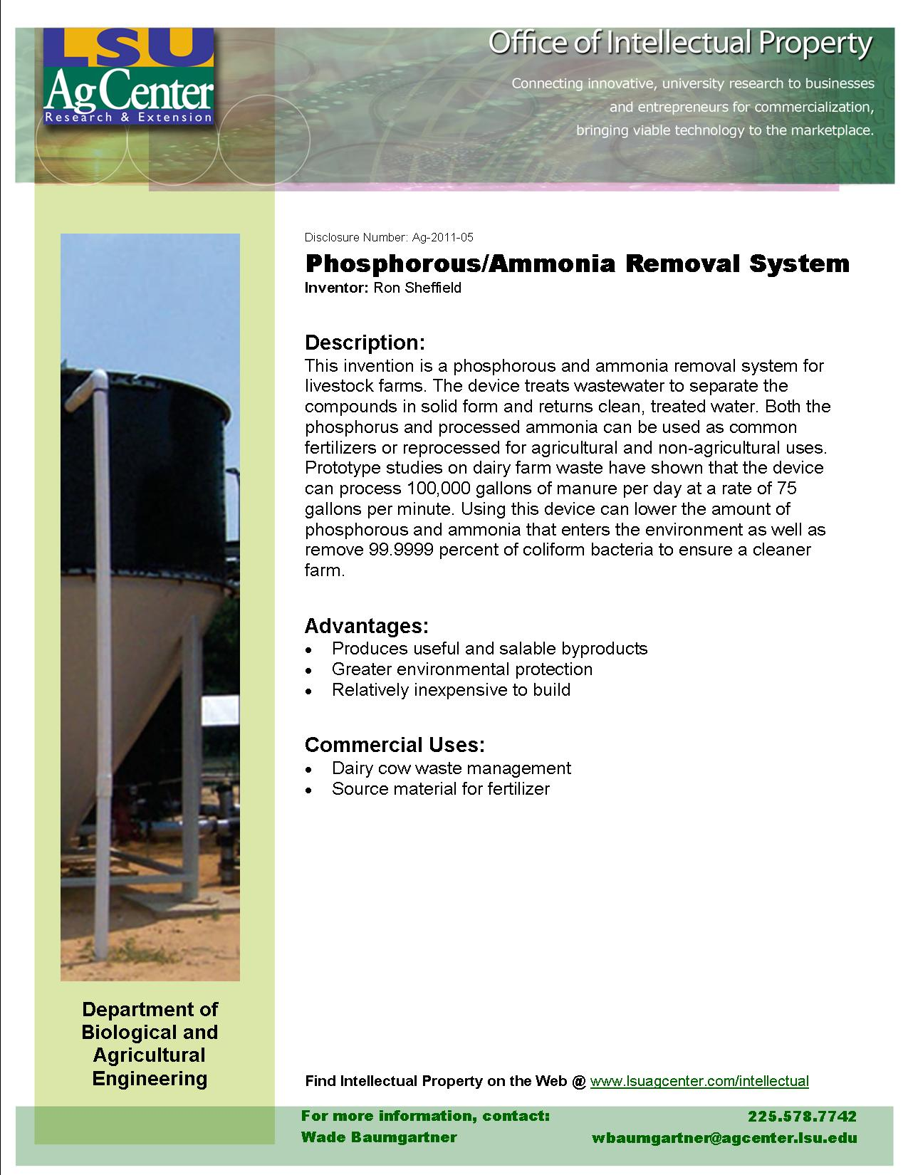 Phosphorous/Ammonia Removal System