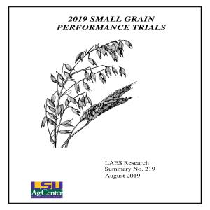 2019 Small Grain Performance Trials