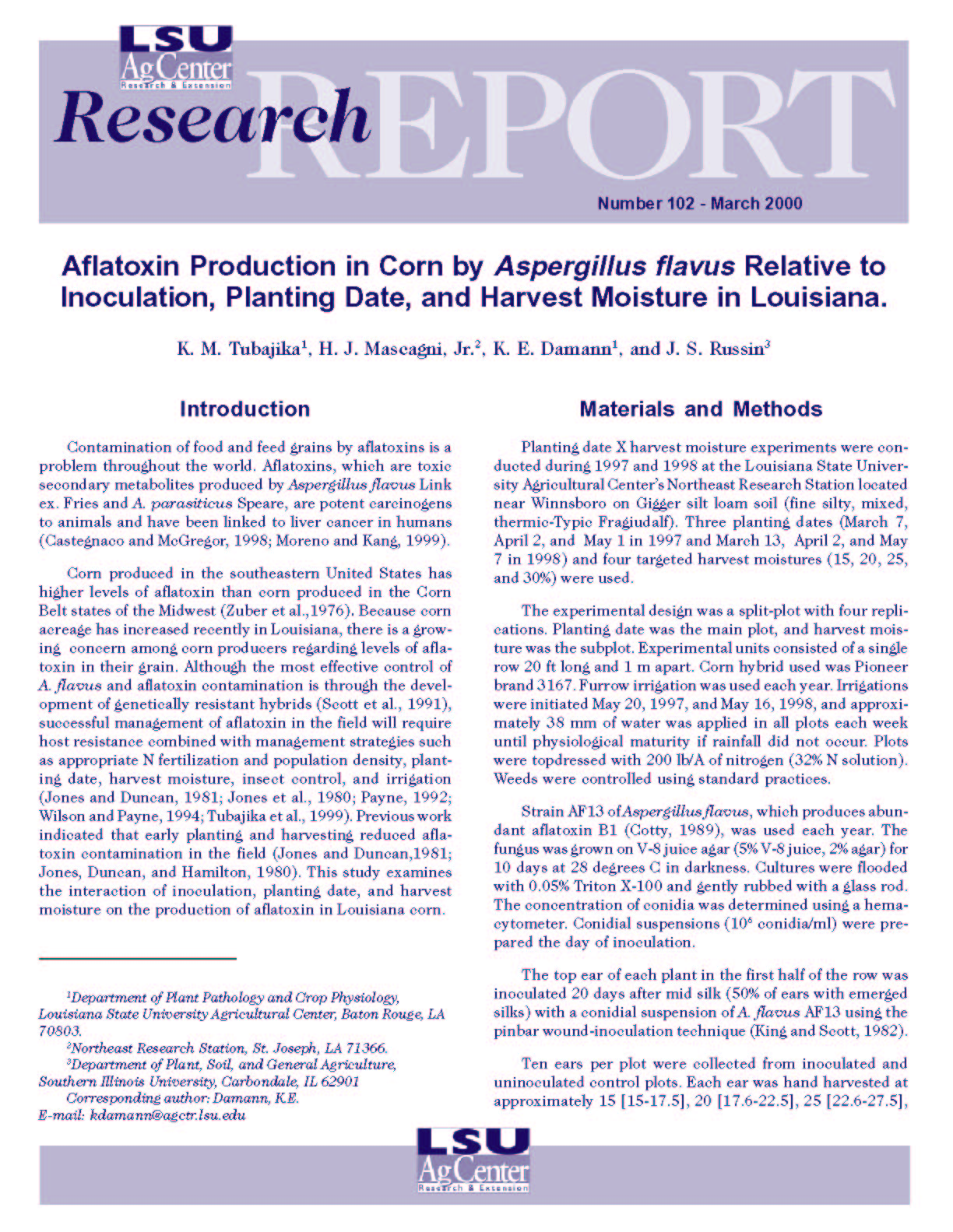 Aflatoxin Production in Corn by Aspergillus flavus Relative to Inoculation Planting Date and Harvest Moisture in Louisiana