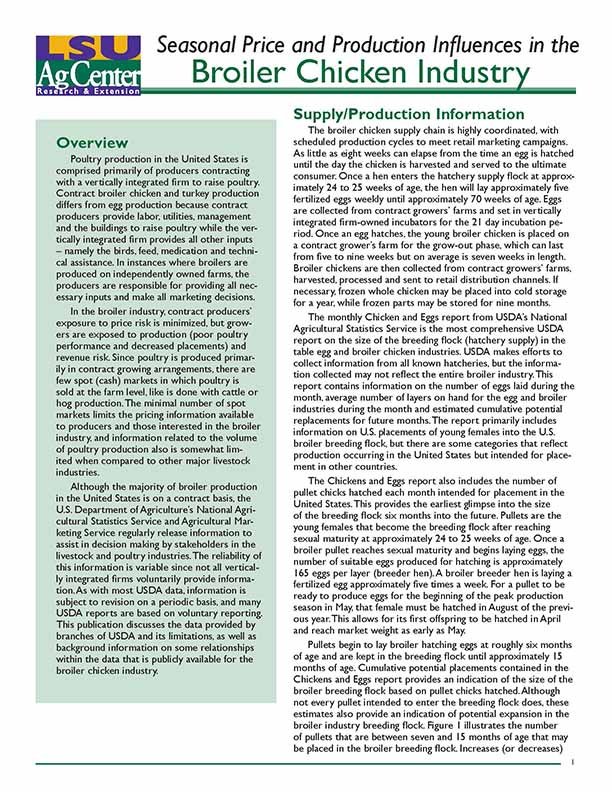 Seasonal Price and Production Influences in the Broiler Chicken Industry
