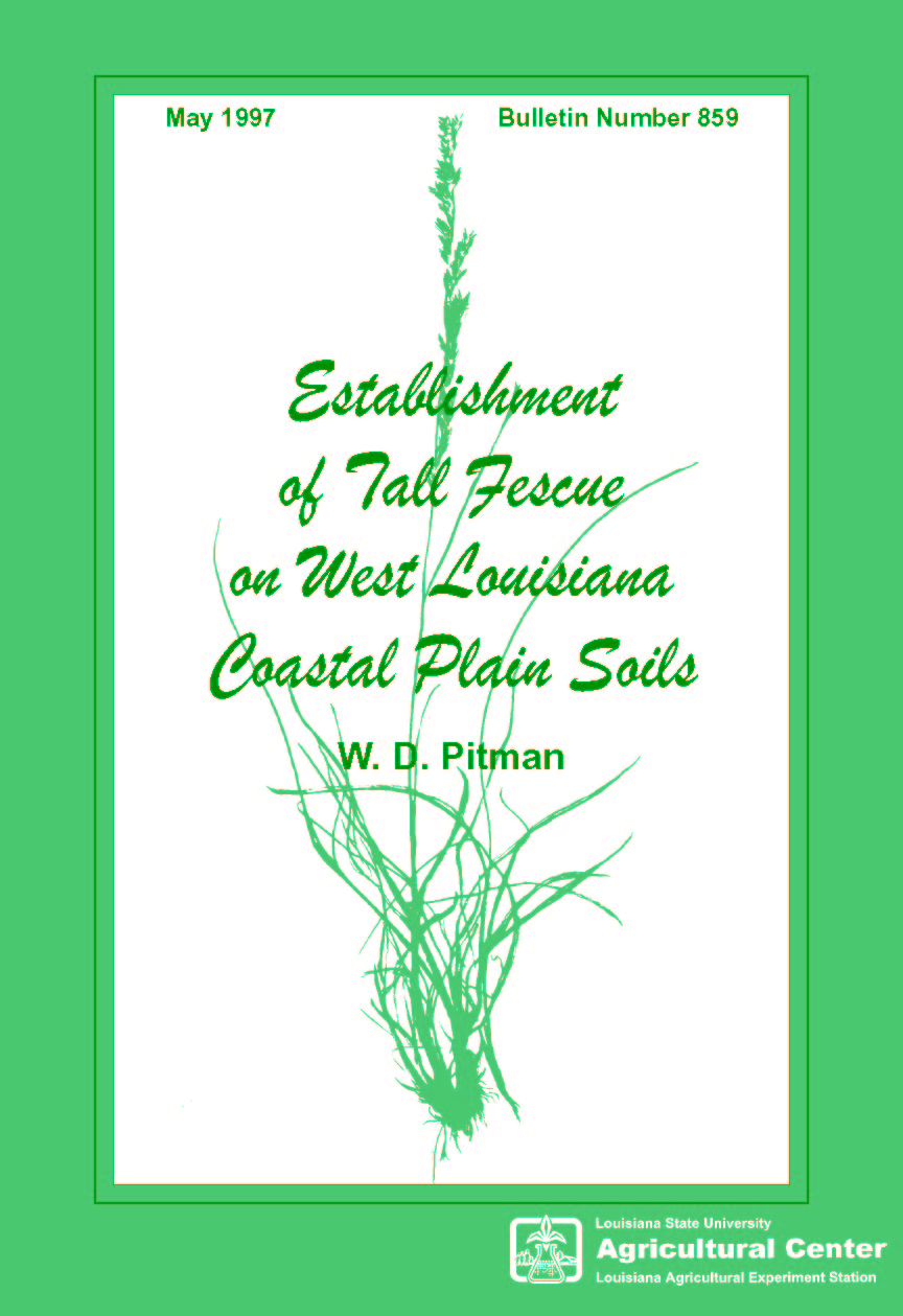 Establishment of Tall Fescue on West Louisiana Coastal Plain Soils (May 1997)
