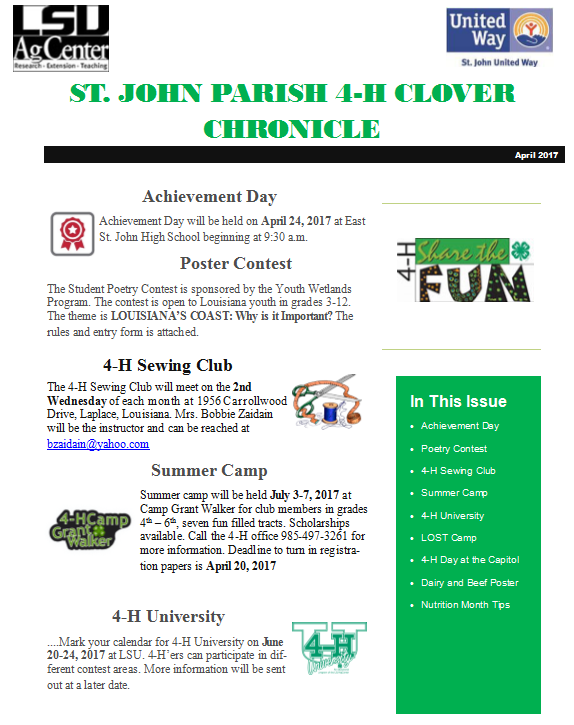 St. John Parish 4-H Clover Chronicle April 2017