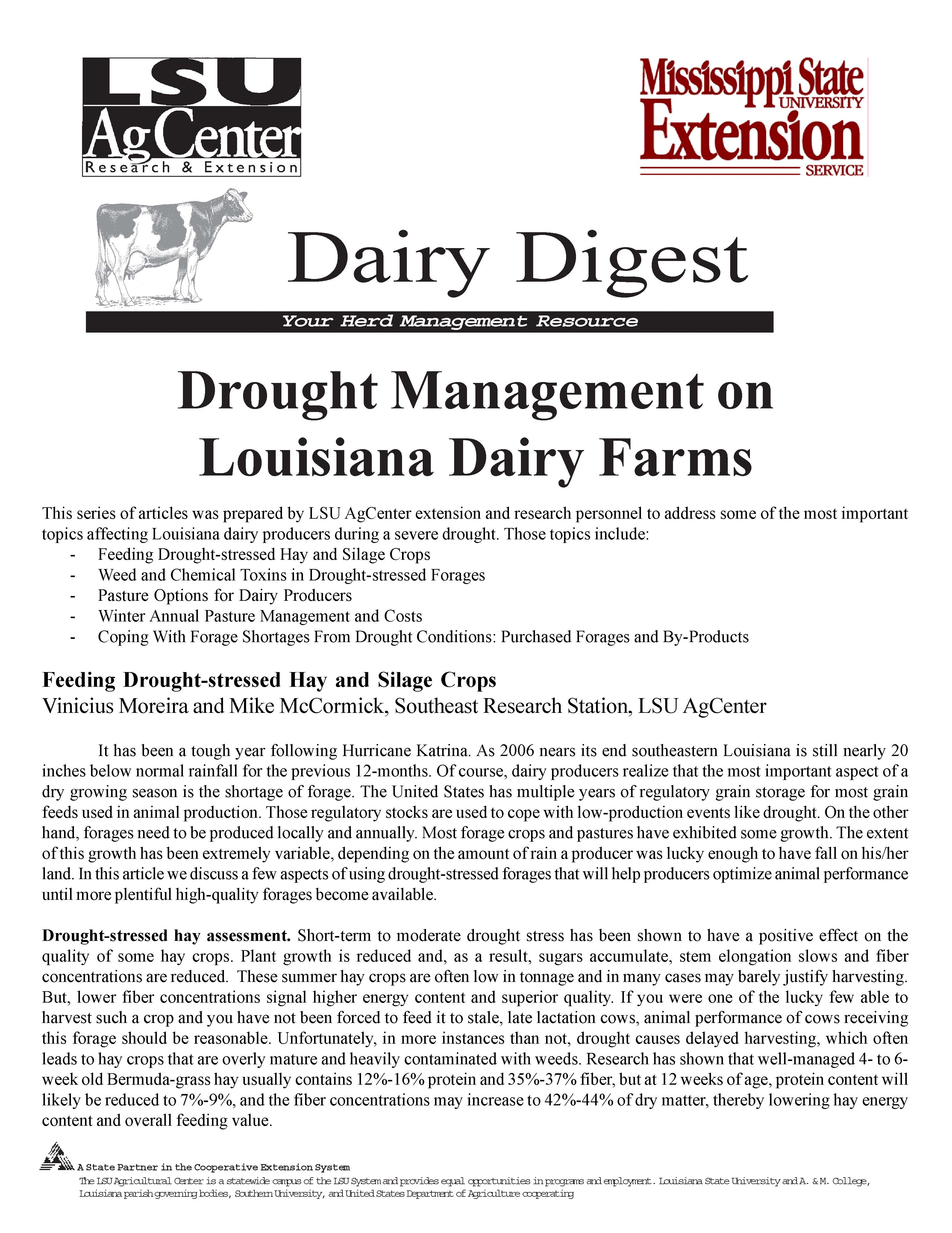 Drought Management on Louisiana Dairy Farms