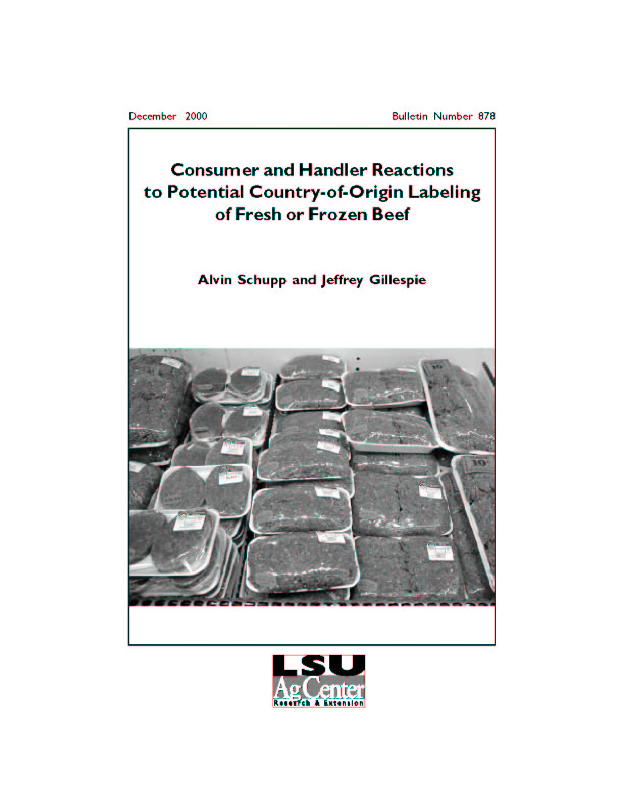 Consumer and Handler Reactions to Potential Country-of-Origin Labeling of Fresh or Frozen Beef (December 2000)