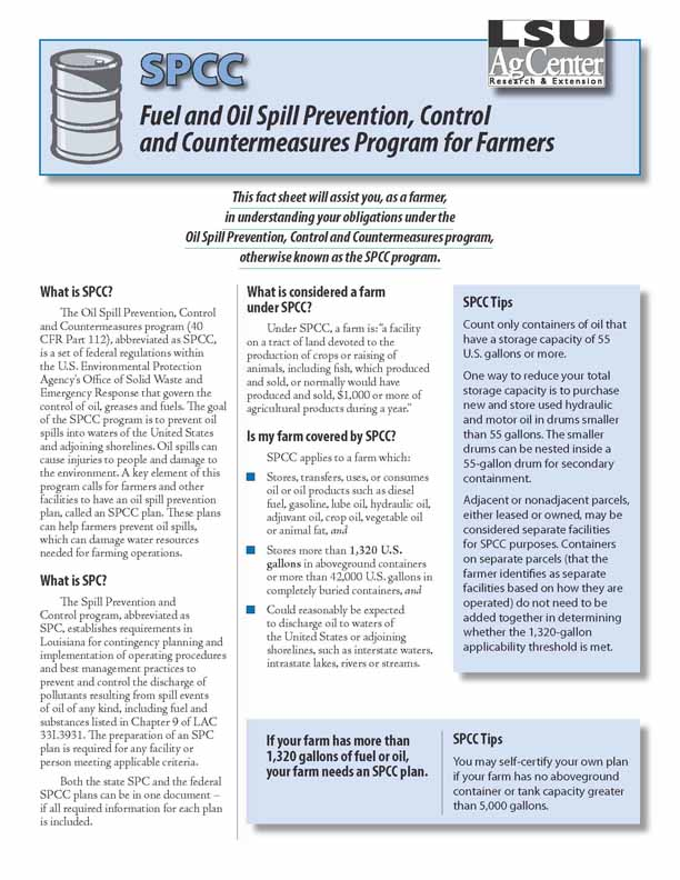 SPCC: Fuel and Oil Spill Prevention Control and Countermeasures Program for Farmers