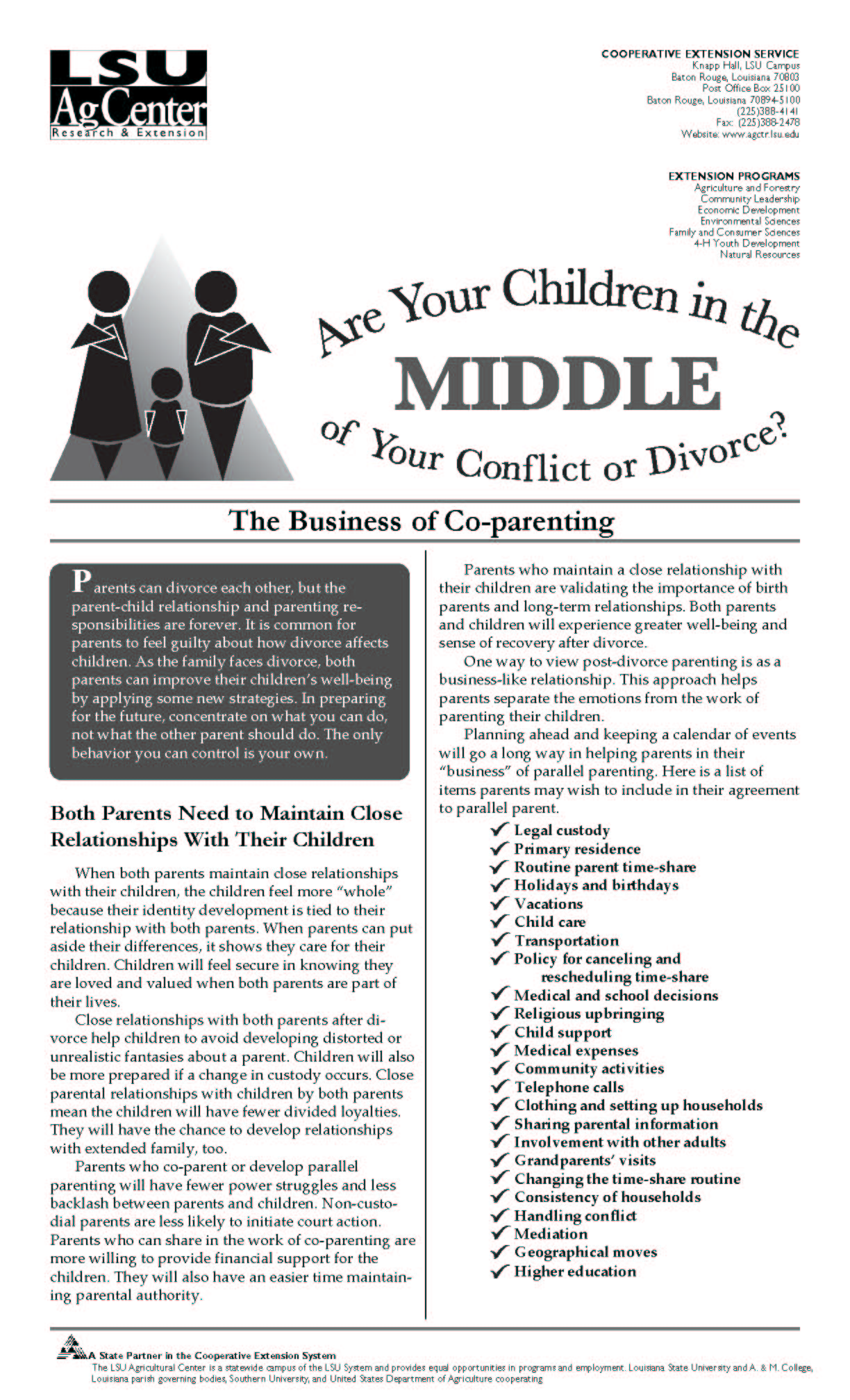 Children in the Middle Series:  The Business of Co-parenting