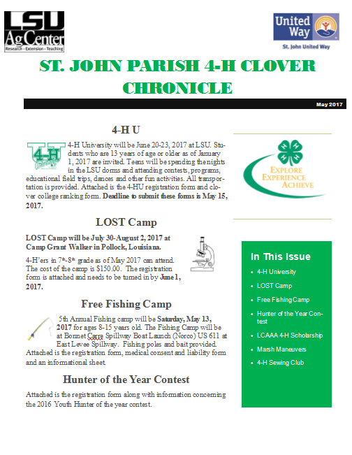 St. John Parish 4-H Clover Chronicle May 2017