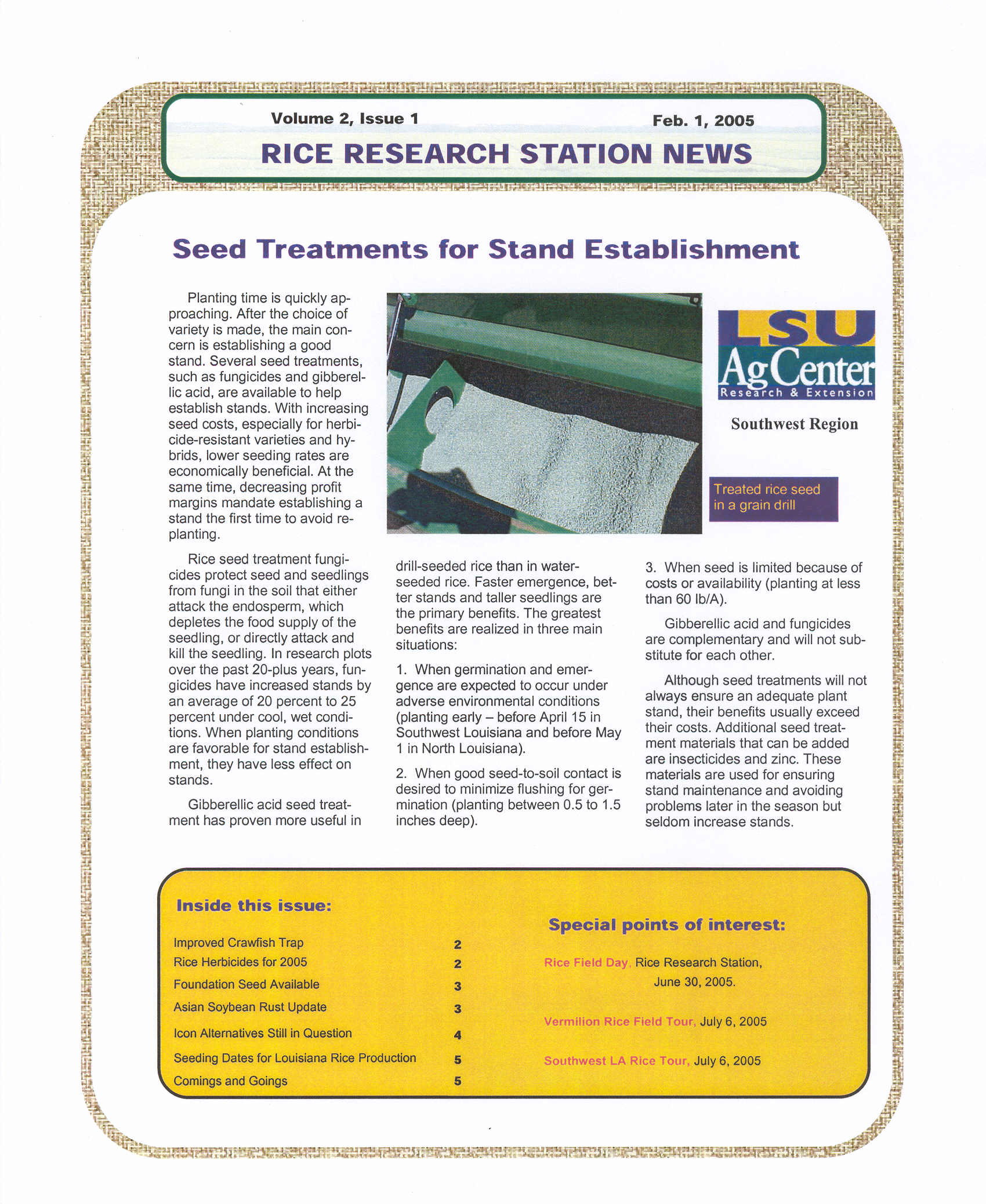 2005 Rice Research Station Newsletters