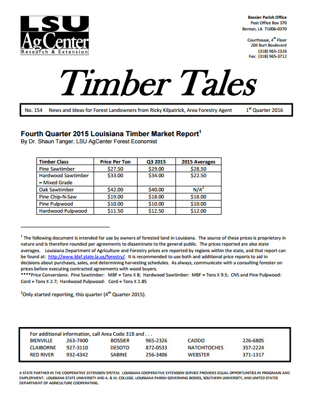 2016 Timber Tales Newsletters