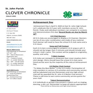 St. John Parish Clover Chronicle March 2020