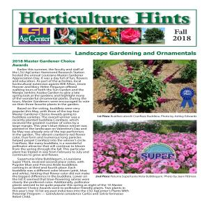 Horticulture Hints FALL 2018