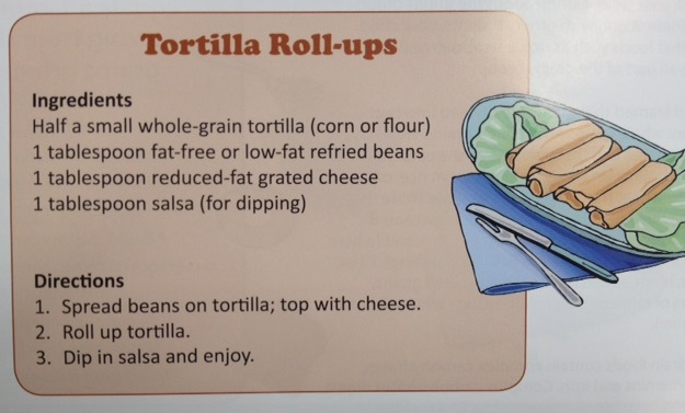 Tortilla Roll-ups Recipe  How to Video from      Let's Eat for the Health of It                              Youth Lesson # 4  Make at Least Half Your Grains Whole