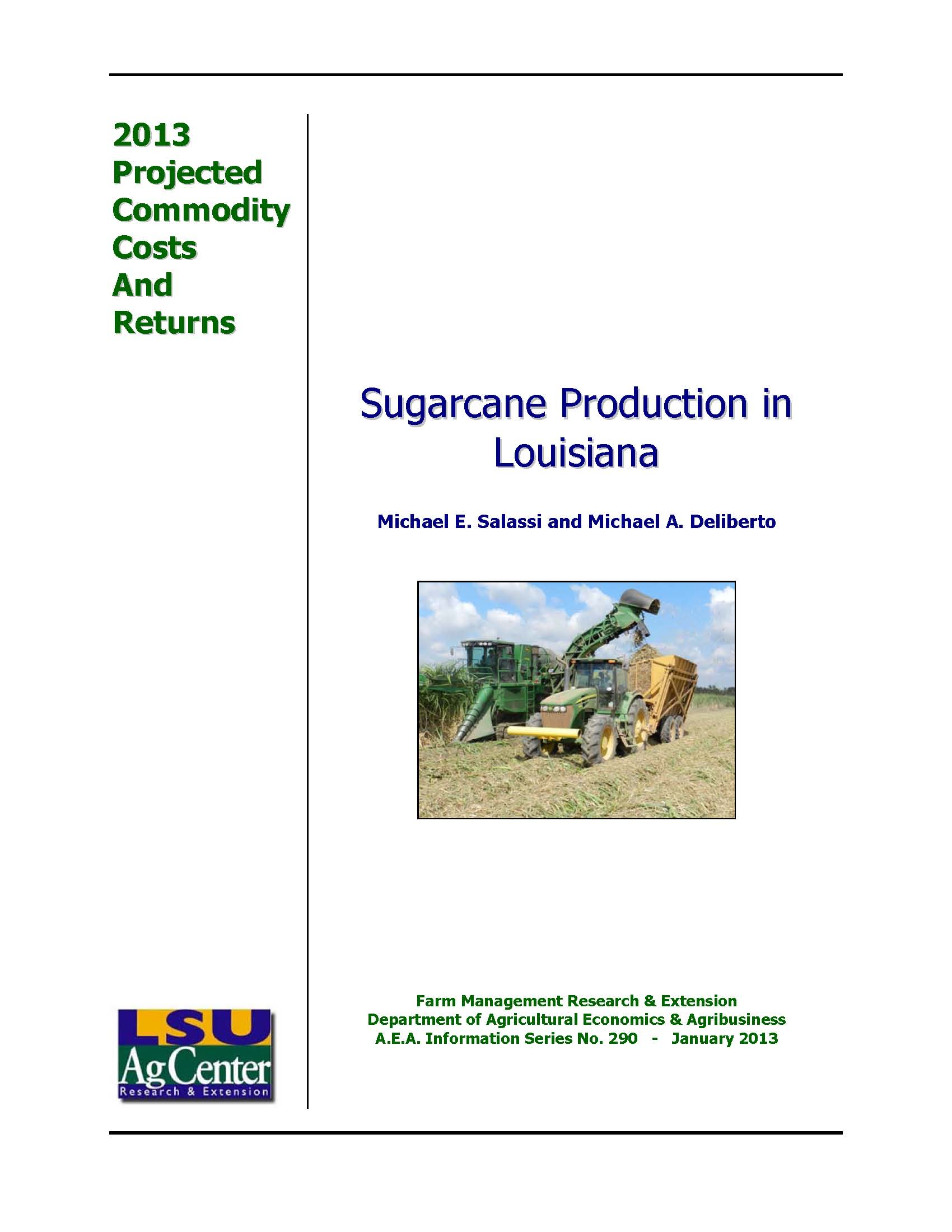2013 Projected Louisiana Sugarcane Production Costs