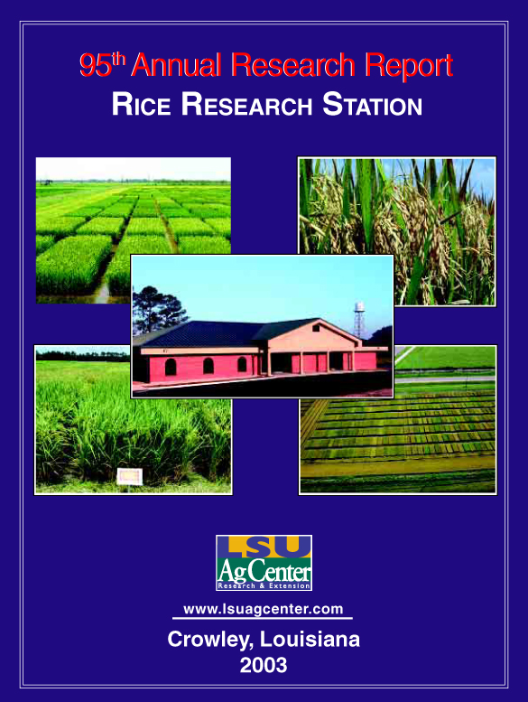 2003 Annual Research Report Rice Research Station