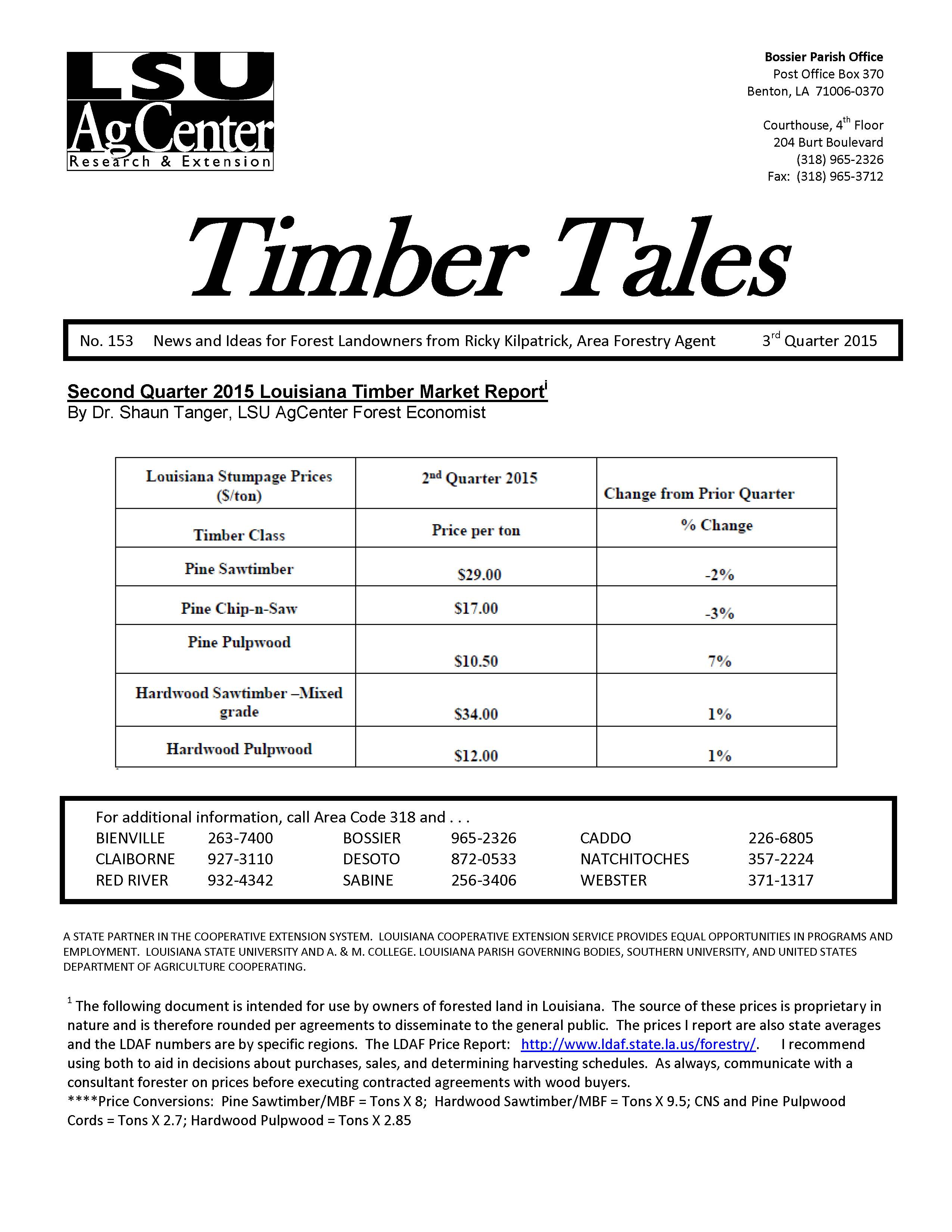 3rd Quarter Timber Tales Newsletter