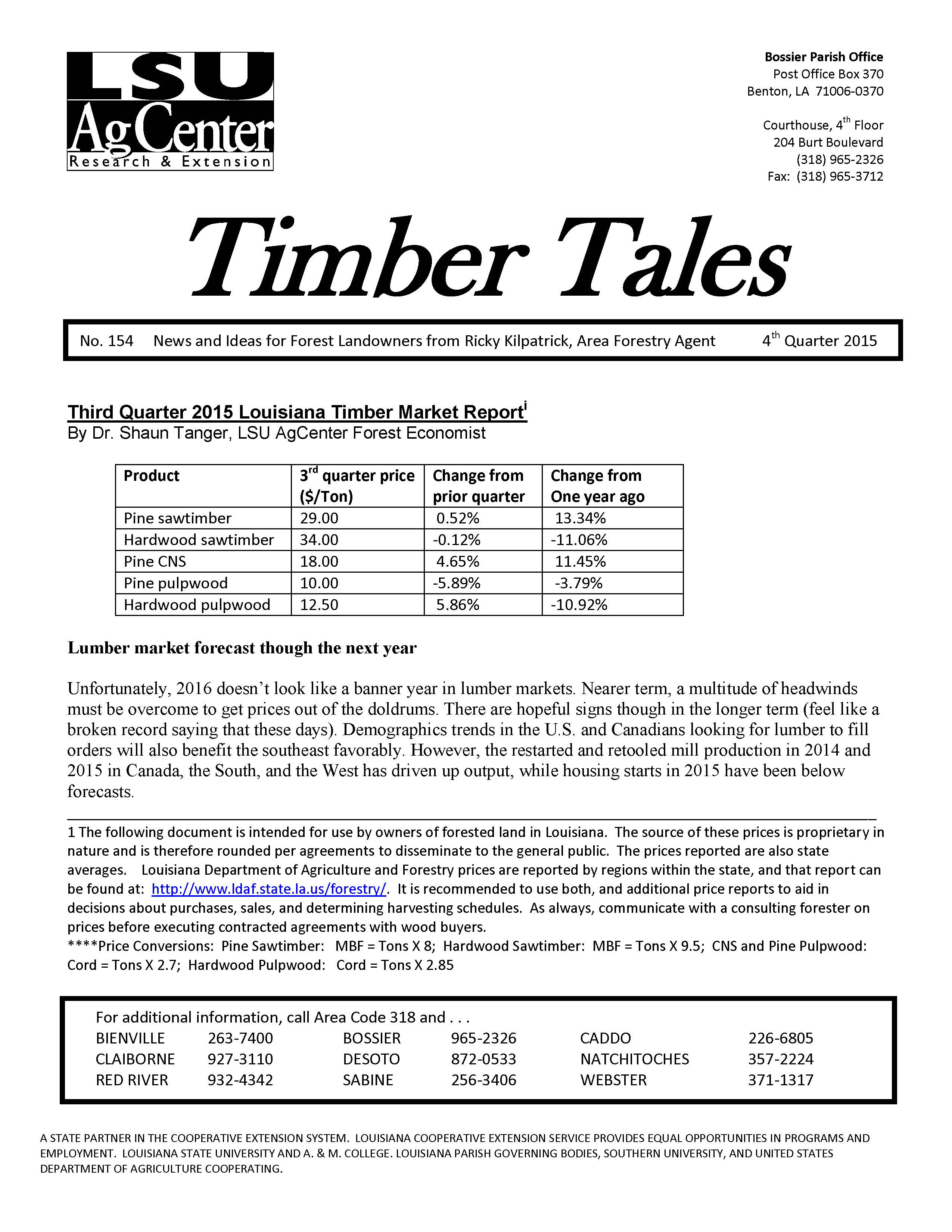 2015 Timber Tales Newsletters