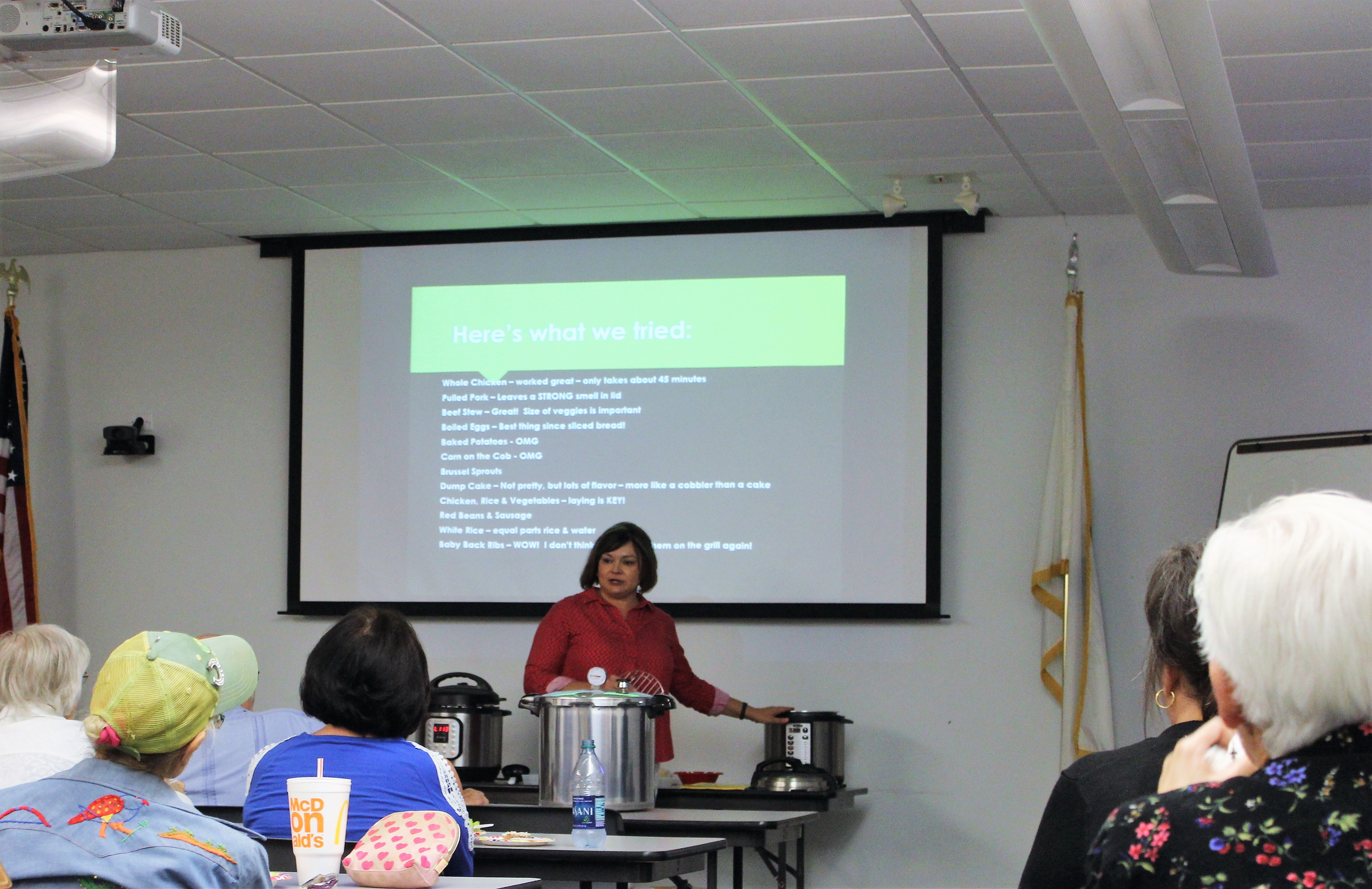 Quincy Vidrine provides participants with information on the new electric cookers.