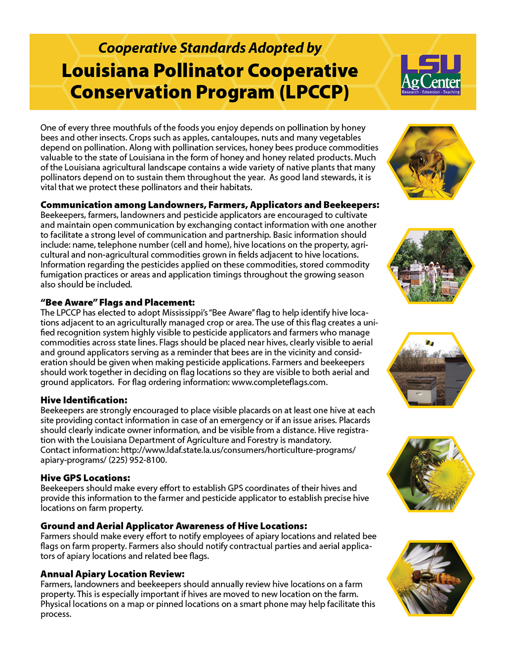 Cooperative Standards Adopted by Louisiana Pollinator Cooperative Conservation Program