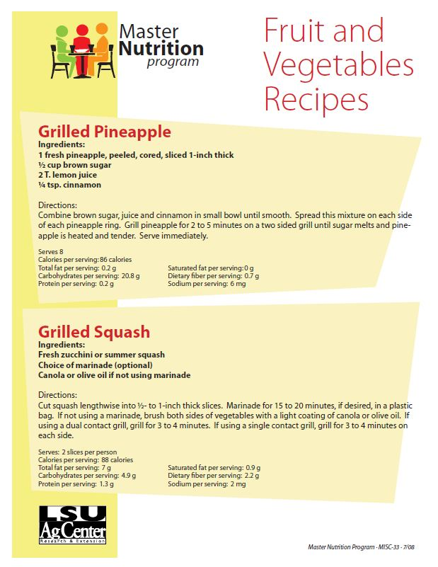 Fact Sheet: Fruit and Vegetable Recipes