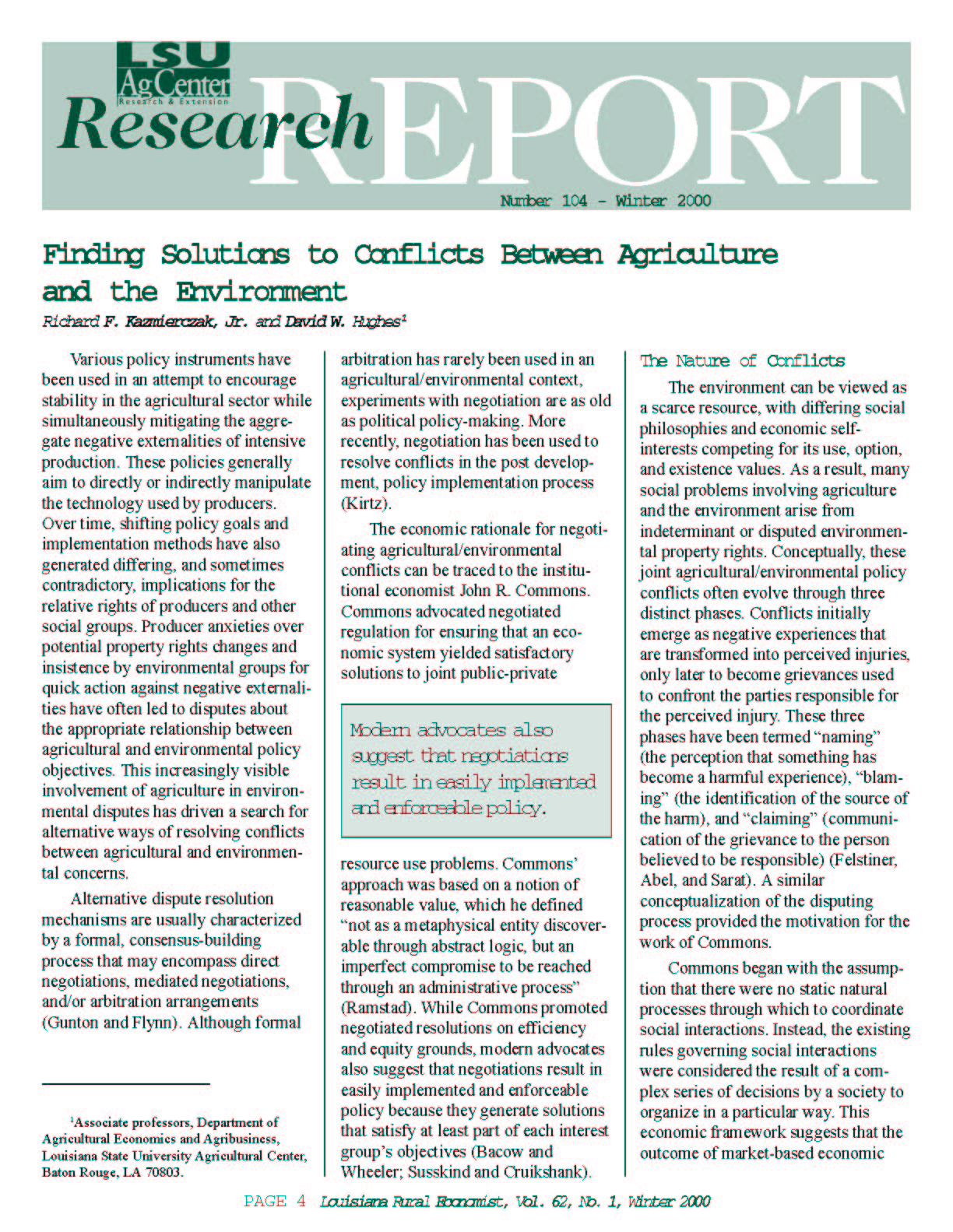 Finding Solutions to Conflicts Between Agriculture and the Environment (Winter 2000)