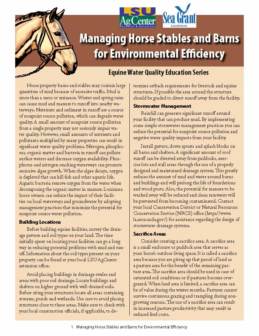 Managing Horse Stables and Barns for Environmental Efficiency