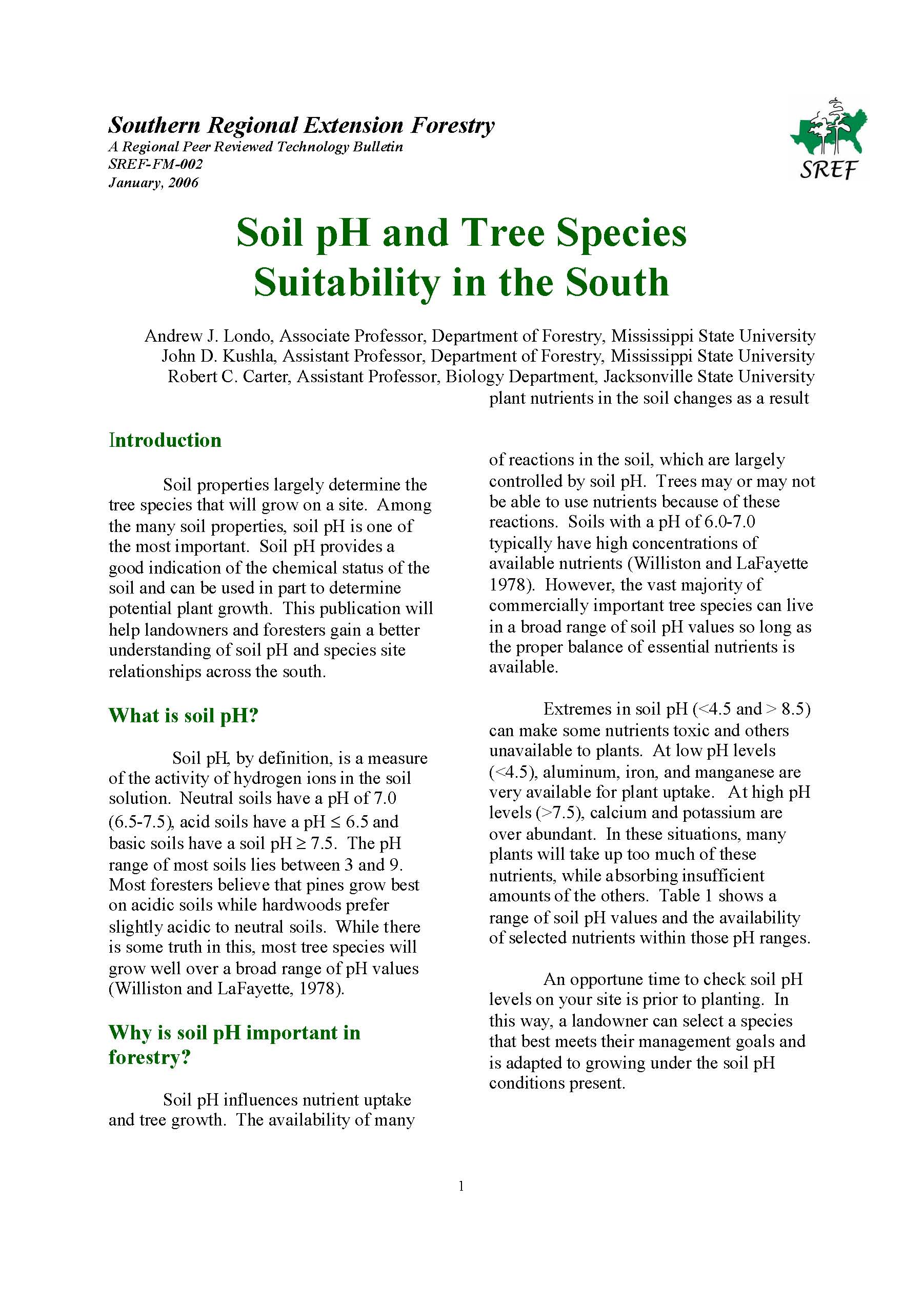 Soil pH and Tree Species Suitability in the South