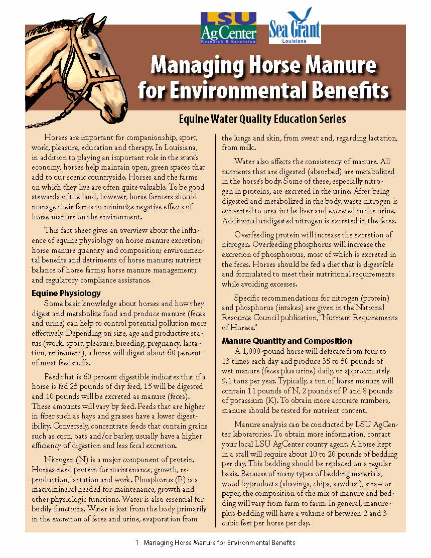 Managing Horse Manure for Environmental Benefits
